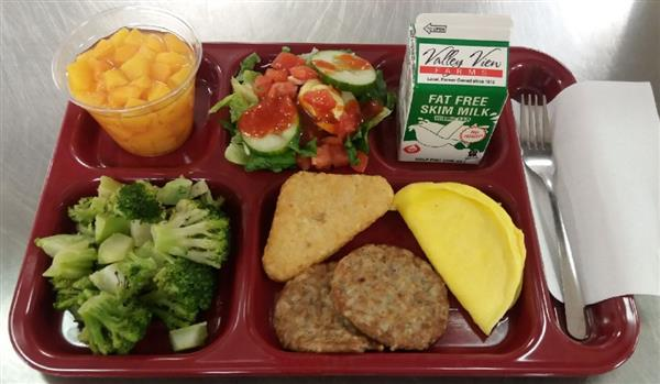 Cheese Omelet, Sausage Patty, Potato Triangle, Steamed Broccoli, 