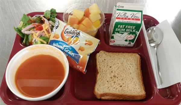 Grilled Cheese, Tomato Soup, Goldfish Crackers, Fruit Choice (shown with salad bar)